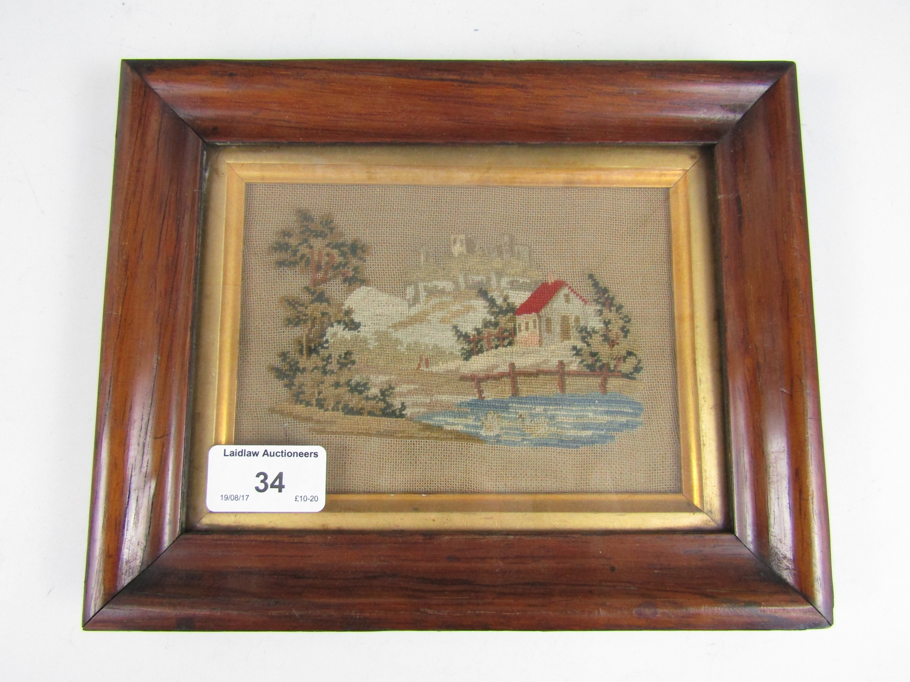 Lot 34 - A small Victorian petit-point needlework picture, in gilt slip and rosewood frame, 23 x 18 cm