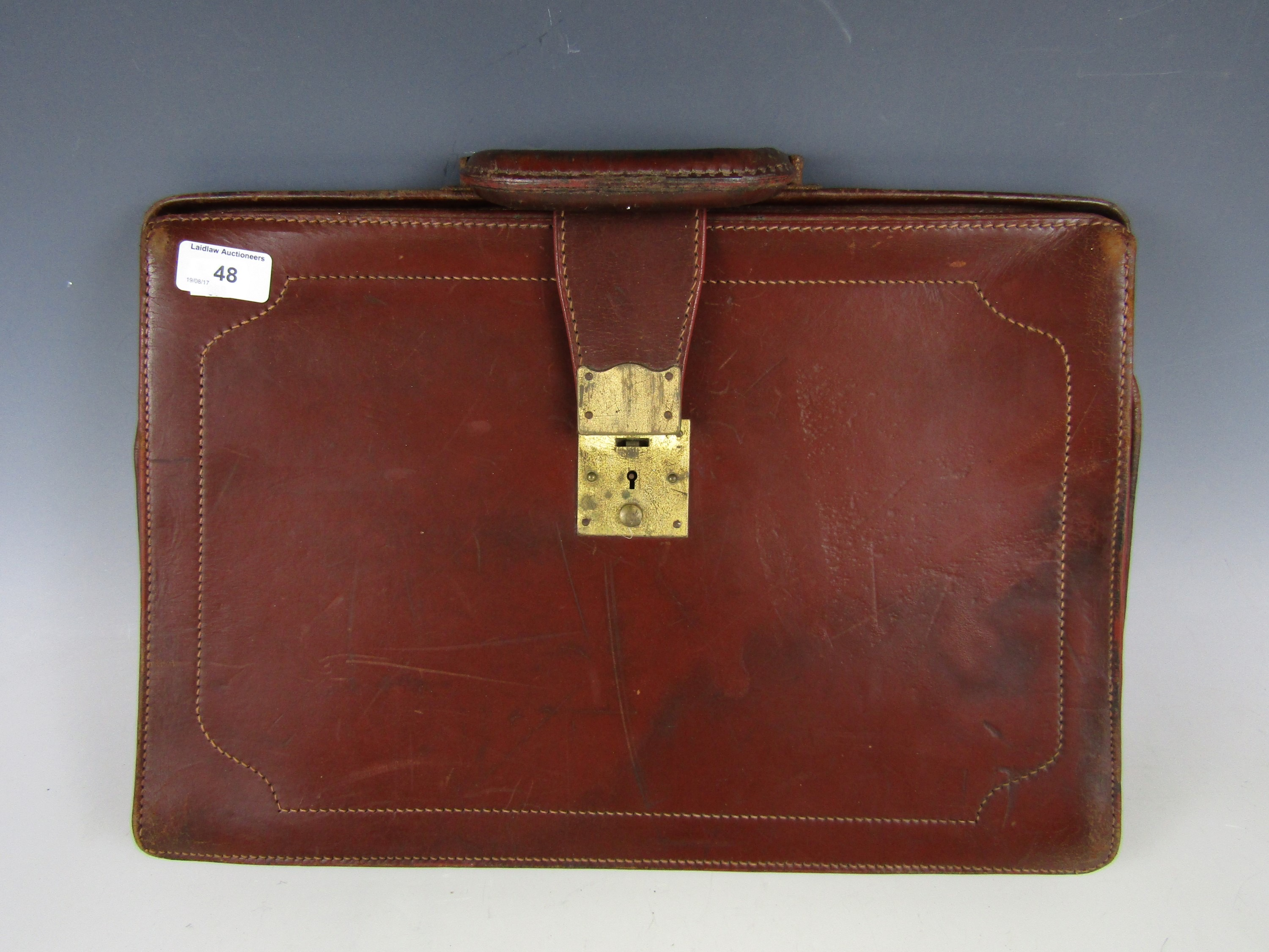 Lot 48 - A vintage leather briefcase