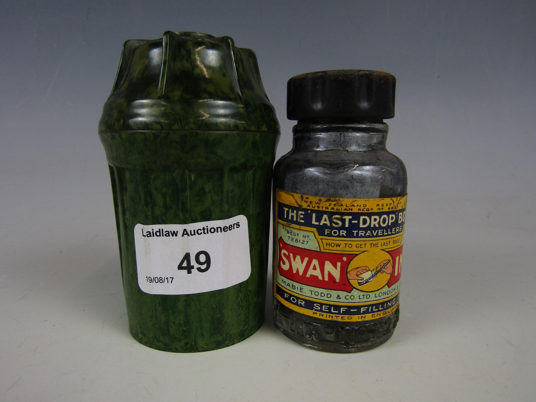 Lot 49 - A vintage swan ink bottle and Bakelite travel case