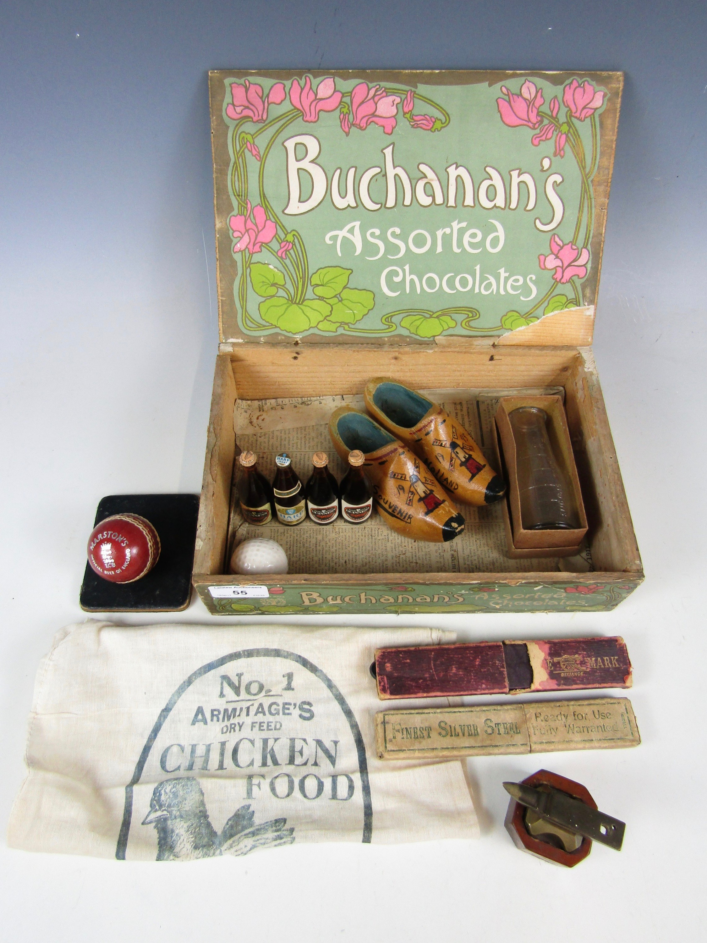 Lot 55 - An early 20th Century wooden 'Buchanan's Assorted Chocolates' box together with sundry collectors'
