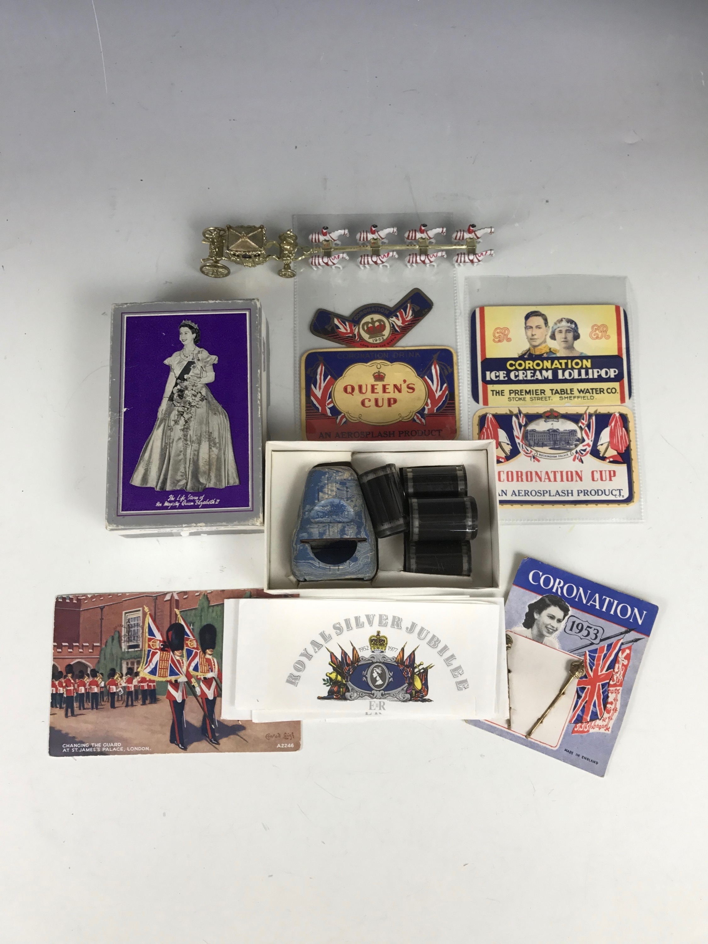 Lot 22 - 1953 Royal Coronation souvenirs and ephemera including a 'Film Stips' viewer and reels
