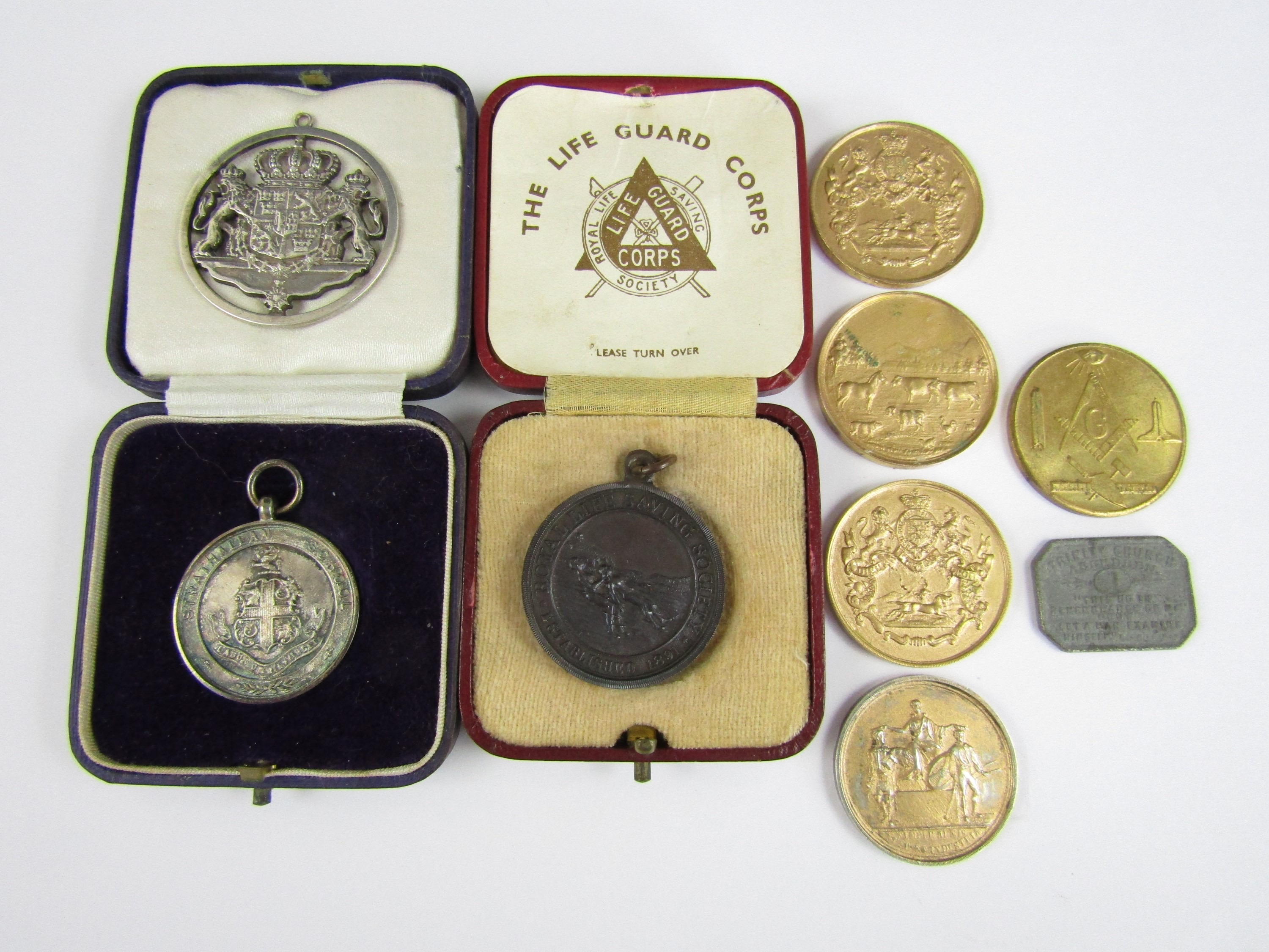 Lot 36 - Vintage prize medallions and tokens, including a Royal Life Saving Society bronze medal awarded to