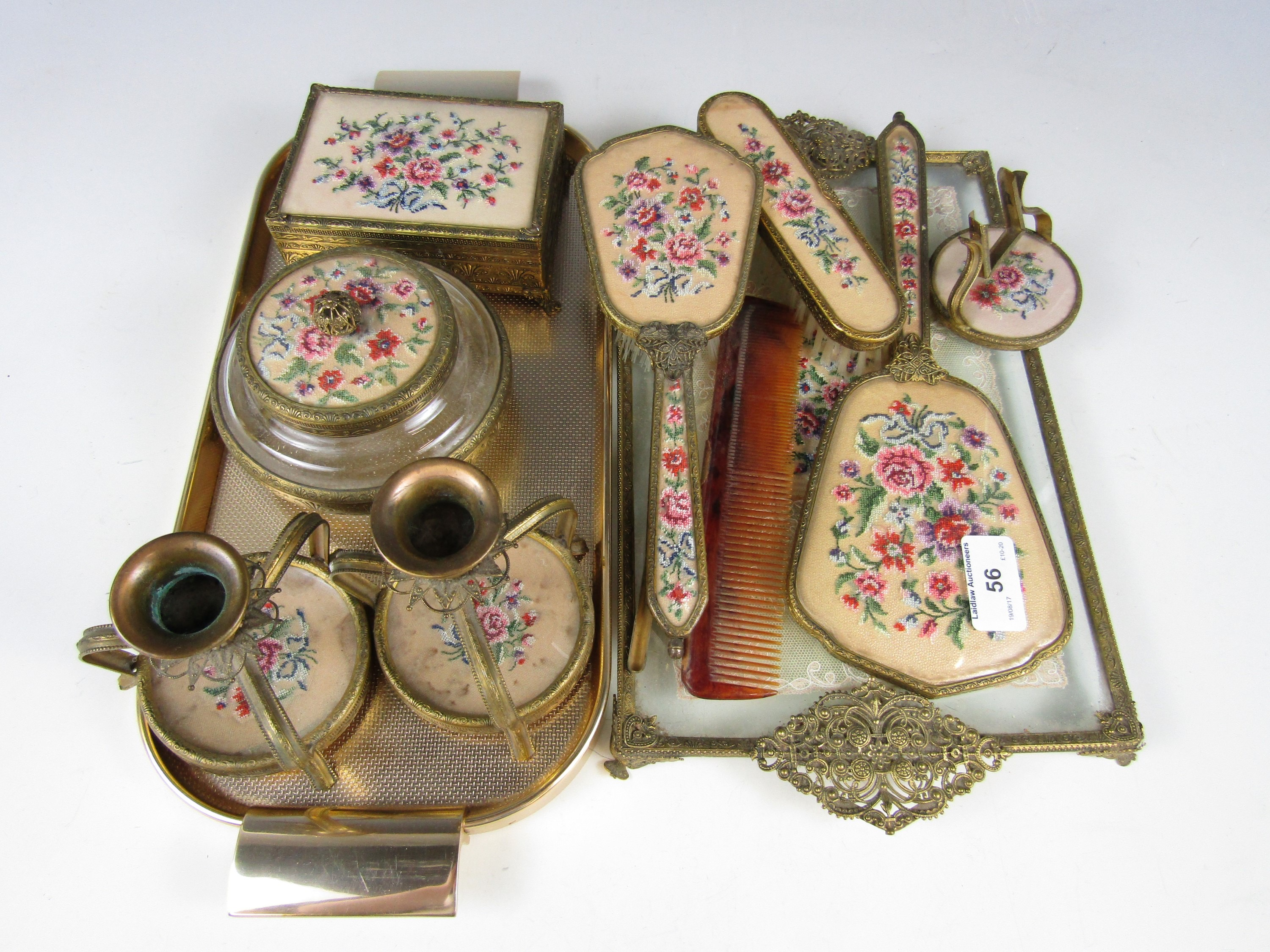 Lot 56 - A 1940's hand embroidered dressing table set