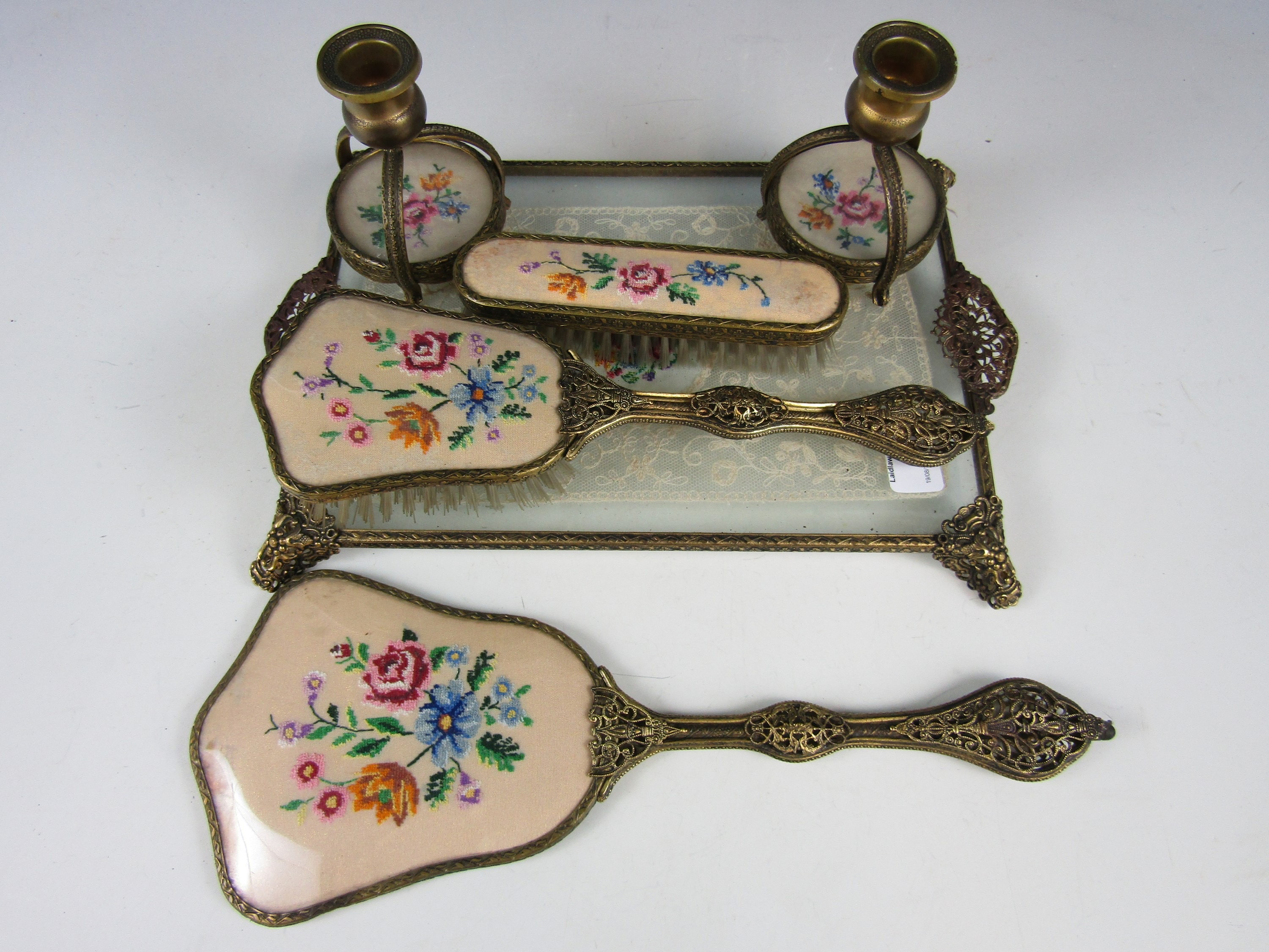 Lot 61 - A 1940's hand embroidered dressing table set