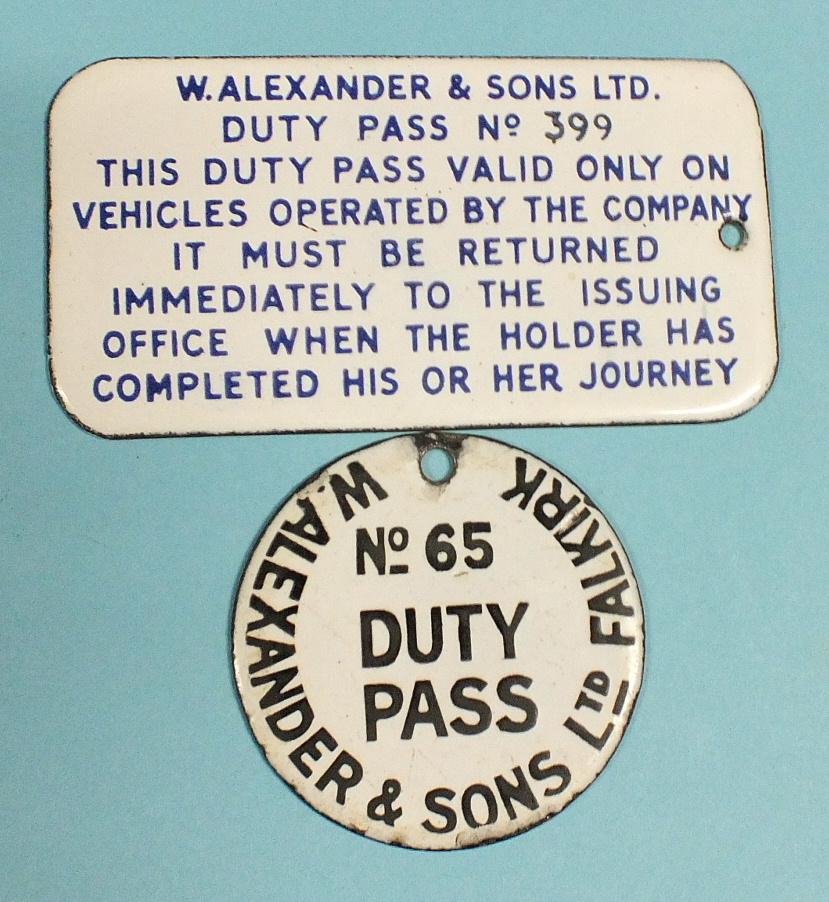 Lot 230 - An enamelled W Alexander & Sons ltd sign relating to the return of Duty Pass no.399, 5.5 x 10.5cm