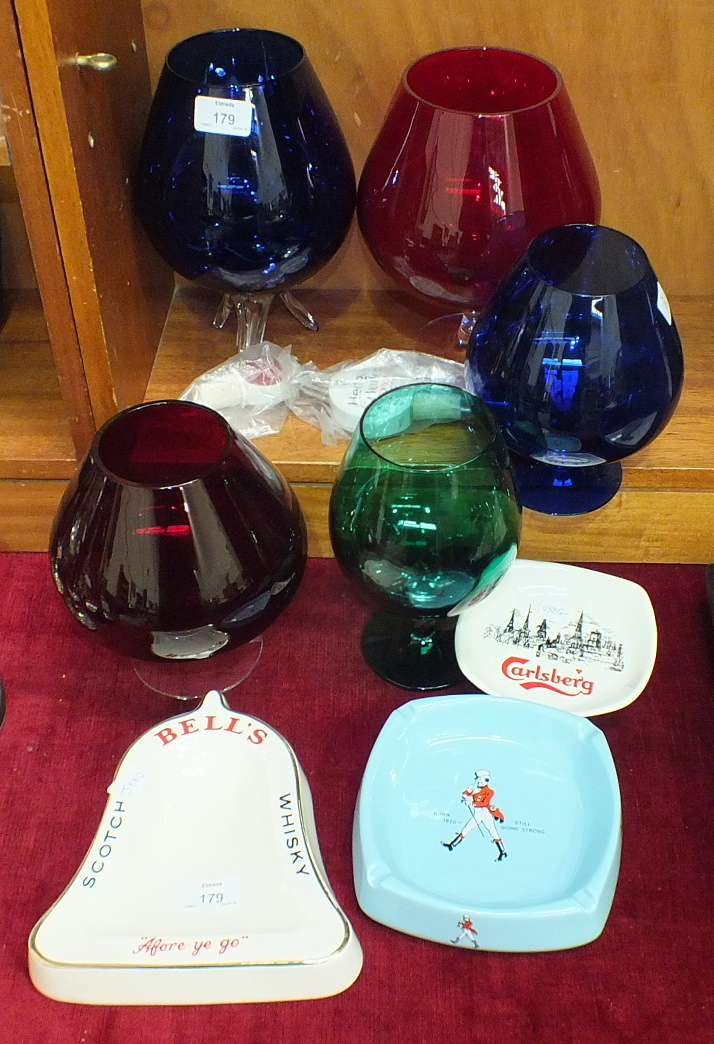 Lot 179 - Three Wade PM advertising ashtrays, coloured glass brandy glasses, etc.