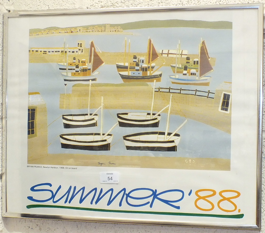 Lot 54 - After Brian Pearce, an advertising poster 'Summer '88', 50 x 40cm, Tessa Beaver 'Sea Holly' a