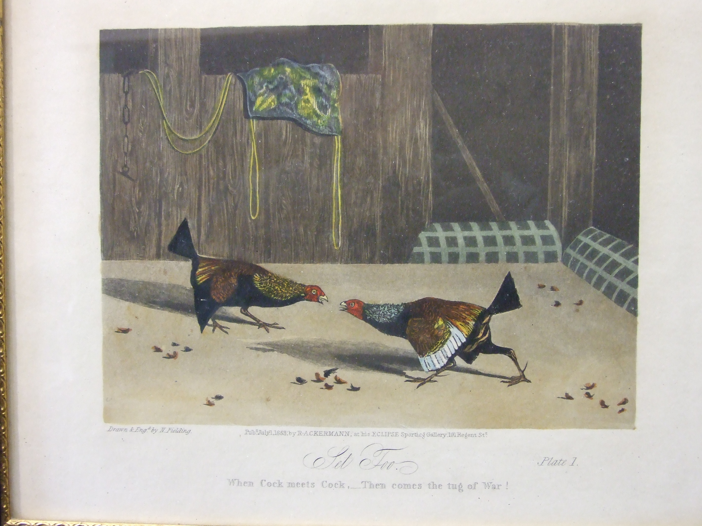 Lot 56 - After N Fielding, a set of six cock fighting prints, pub. R A Ackermann 1853, 22 x 27cm, (6).
