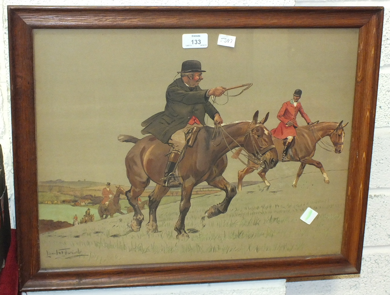 Lot 133 - After Lionel Edwards, 'Old Mr Barleycorn', a framed coloured print, 39 x 49cm and other pictures and