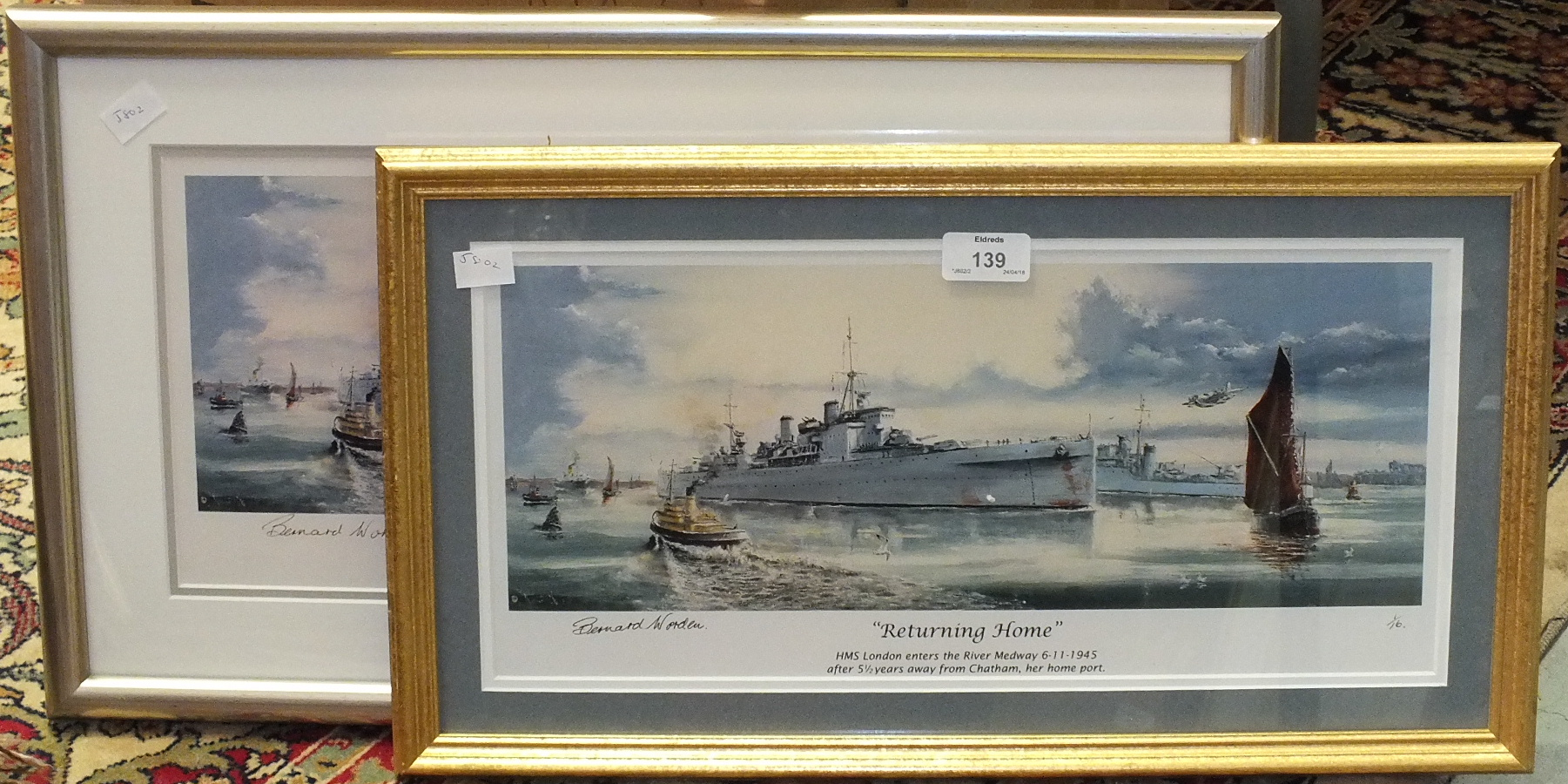 Lot 139 - After Alan F Long, 'HMS Plymouth - Falkland Sound - May 1982', a limited edition coloured print,