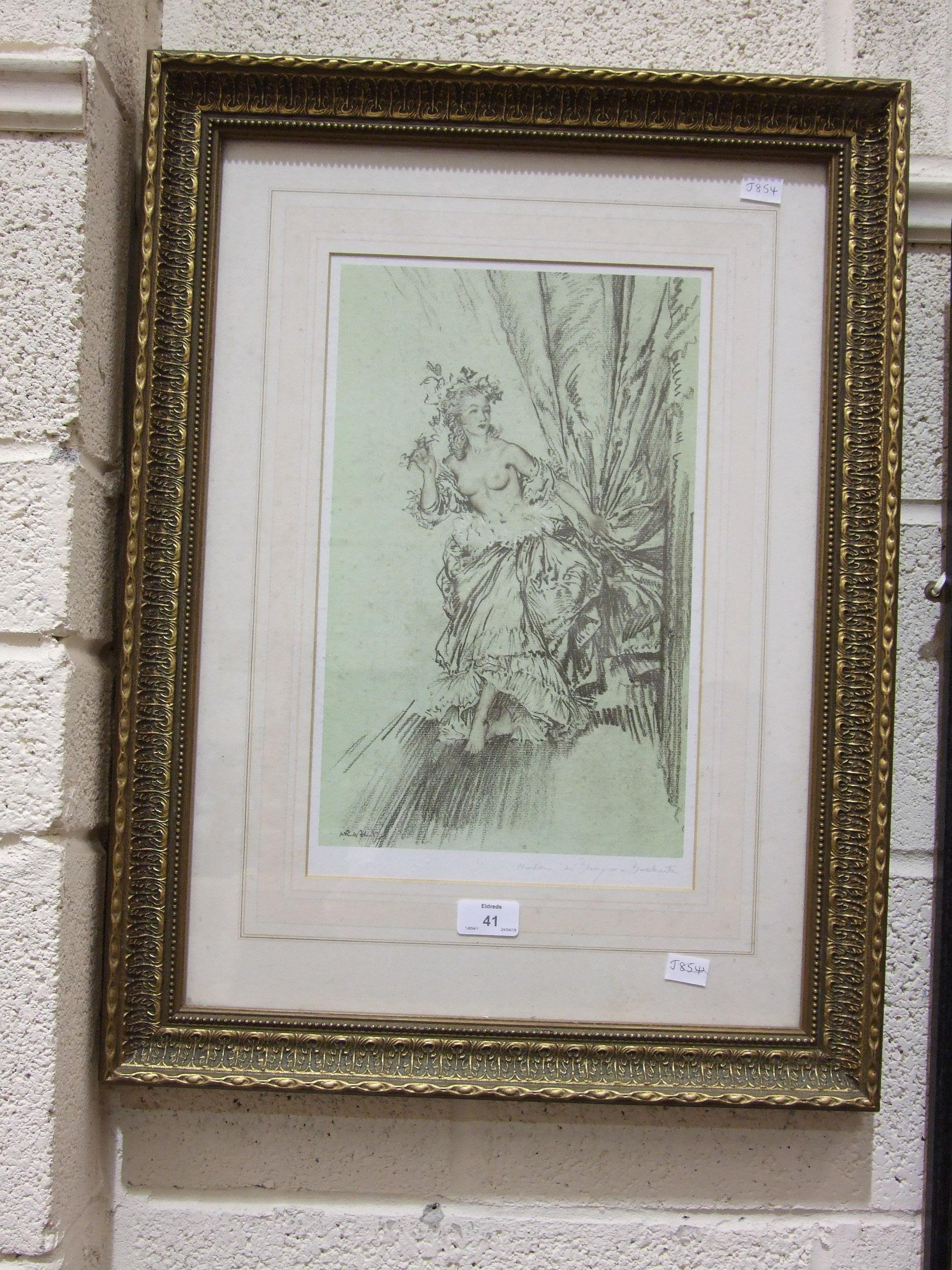 Lot 41 - After Sir William Russell Flint, 'Madame Du Barry, The Reclining Beauty', a framed print, 39 x