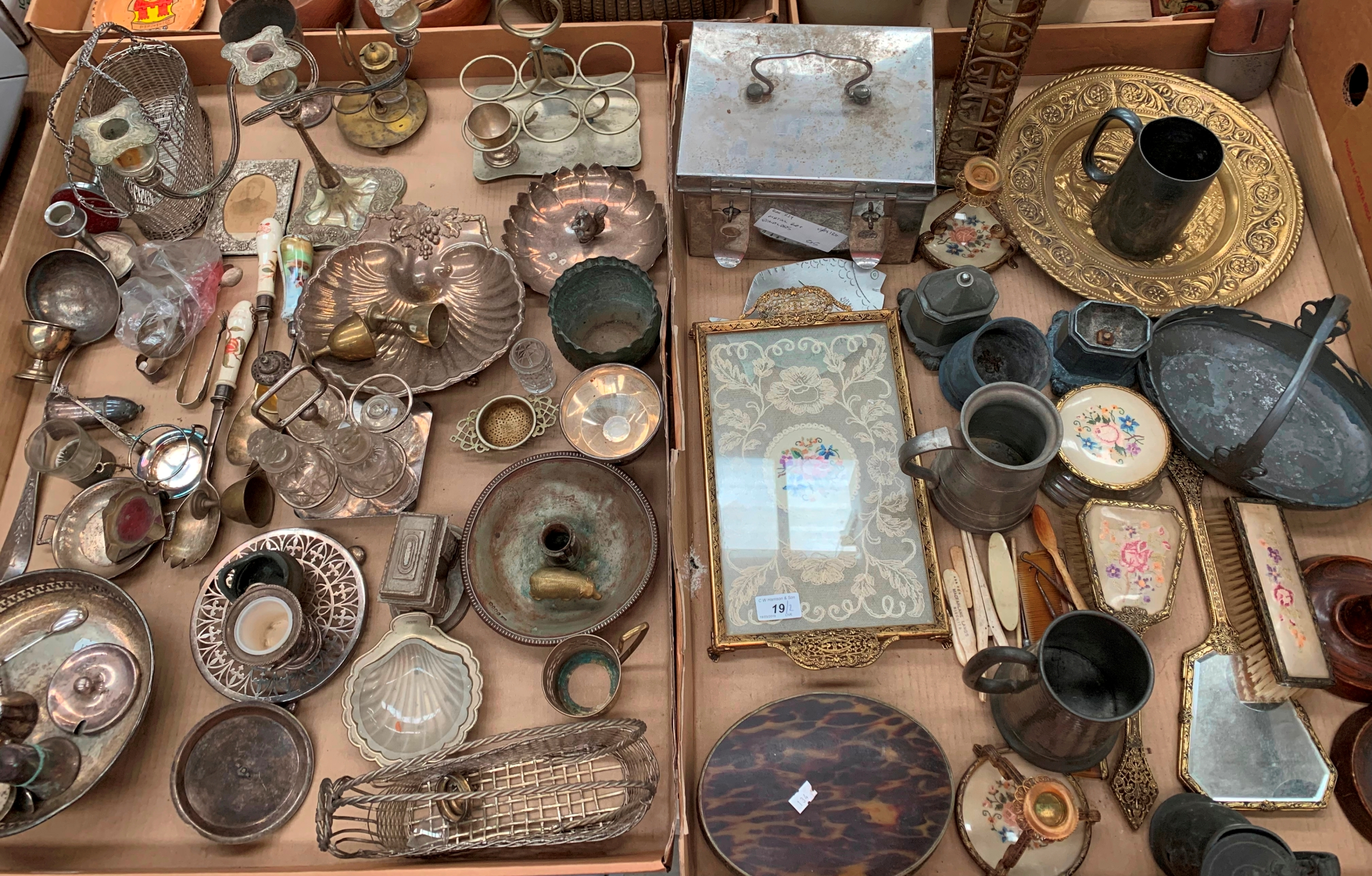Lot 19 - Contents to two trays - large quantity of plated ware, pewter tankards, stainless steel metal box,