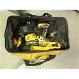 {LOT} Dewalt 20V Saw, 20V Drill & Asst. Batteries & Chargers w/Bag