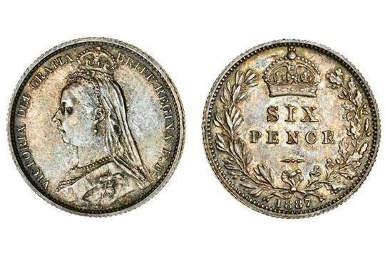 Victoria (1837-1901), Sixpence, 1887, Jubilee bust left, rev