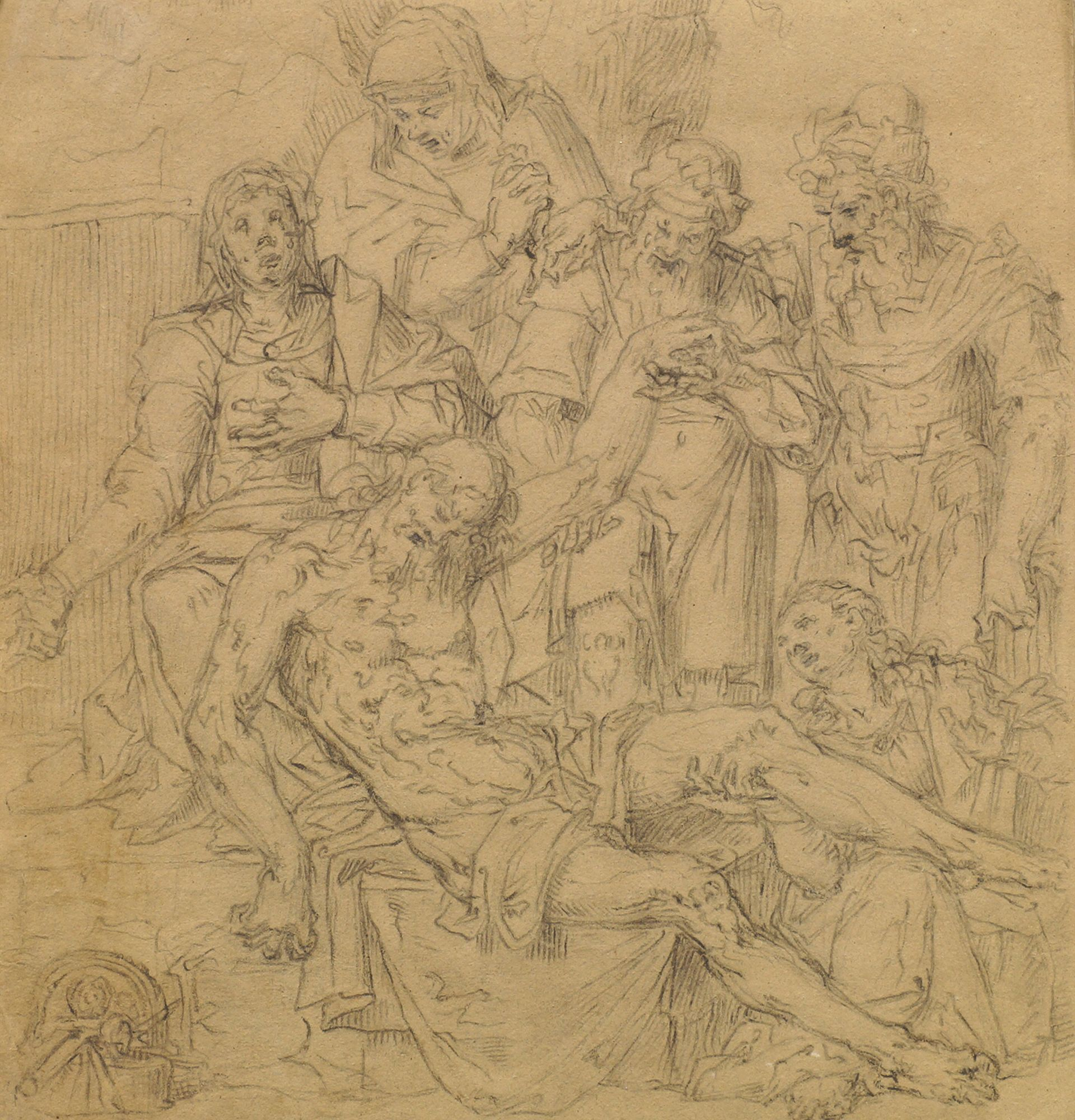 Lot 182 - Manner of Aurelio Luini, early 19th century- The Pieta; black chalk on coloured paper, 28x27cm,