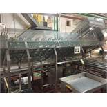 SS bowl de-nester and tray feeder, 32 in x 144 in long feeder to 4 lines on lug conveyor. ** (Locate