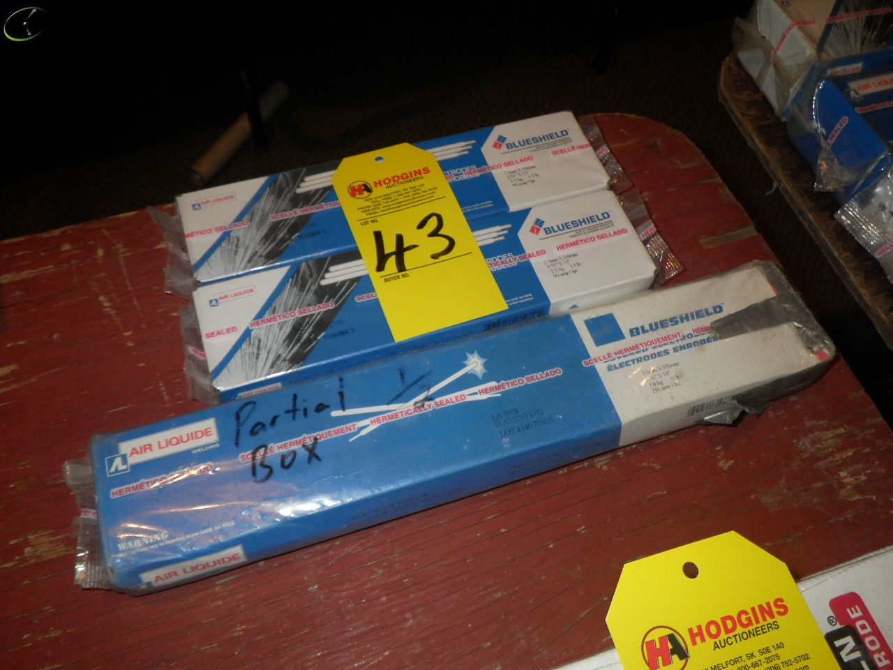 Lot 43 - TWO Boxes Of BLUESHIELD 3/32X12'' 7018 Welding Rods, Partial Box Of 3/16''x18'' 7018 Welding Rod.