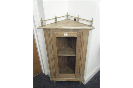 Marvelous Small Pine Corner Cabinet, Freestanding, 3u0027 Tall Glass Doors To The Front  With A Single Shelf Enc