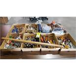 Qty 8 flats of assorted tools, scissors, grease guns, parts, etc.