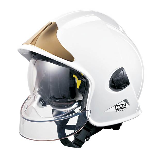 Lot 30 - MSA White Gallet Fire Helmet - Brand New in Box - Genuine Issue