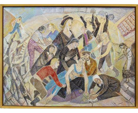 MARIE VOROBIEFF MAREVNA (RUSSIAN 1892 - 1984), REVOLUTION oil on board, signed and dated 1970 67cm x 90cm Framed. Provenance: