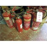 Quantity of assorted fire extinguishers. Located: AC Interiors, Unit A1, Deseronto Trading Estate,