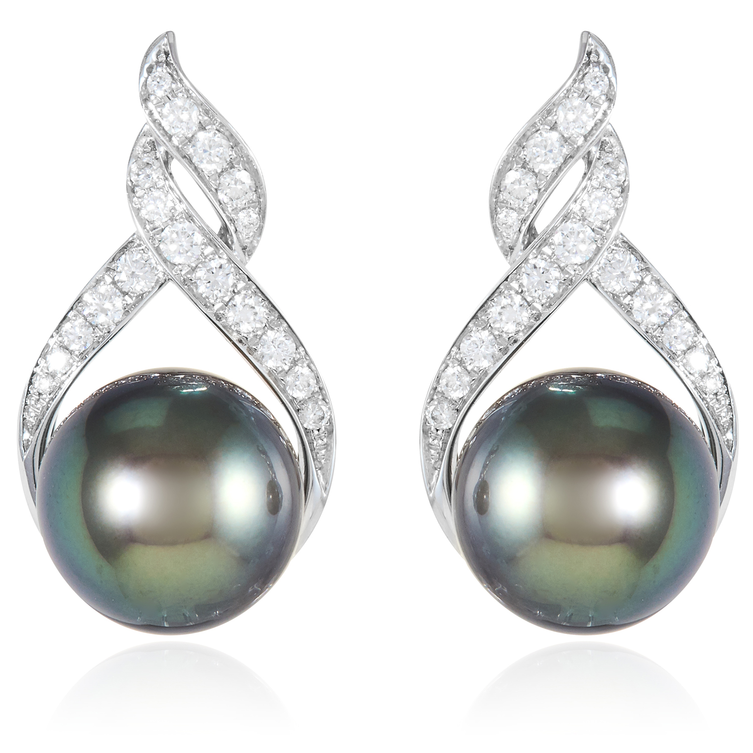 A PAIR OF PEARL AND DIAMOND EARRINGS, SCHOEFFEL in 18ct white gold, each set with a 12.0mm grey