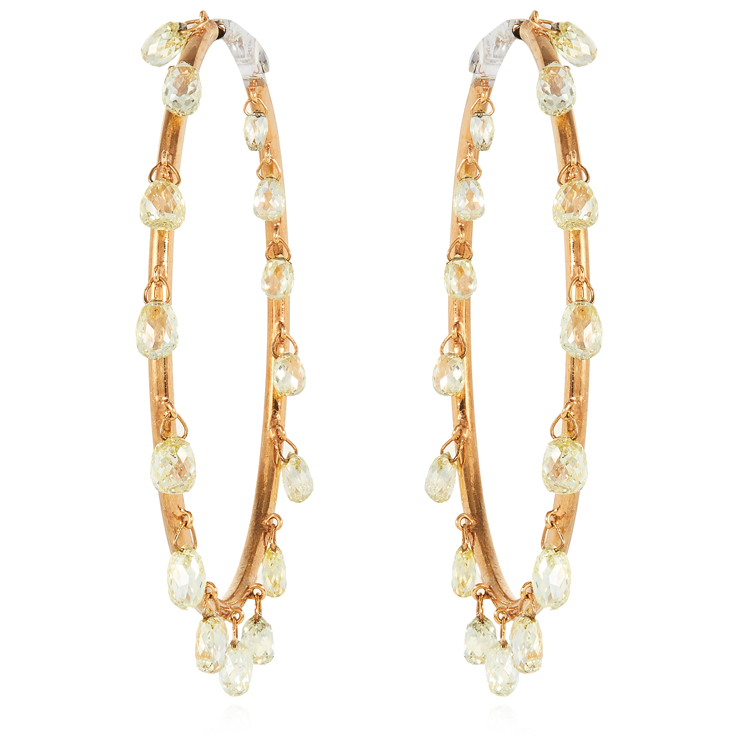 A PAIR OF 6.50 CARAT FANCY YELLOW DIAMOND HOOP EARRINGS in 18ct yellow gold, each designed as a