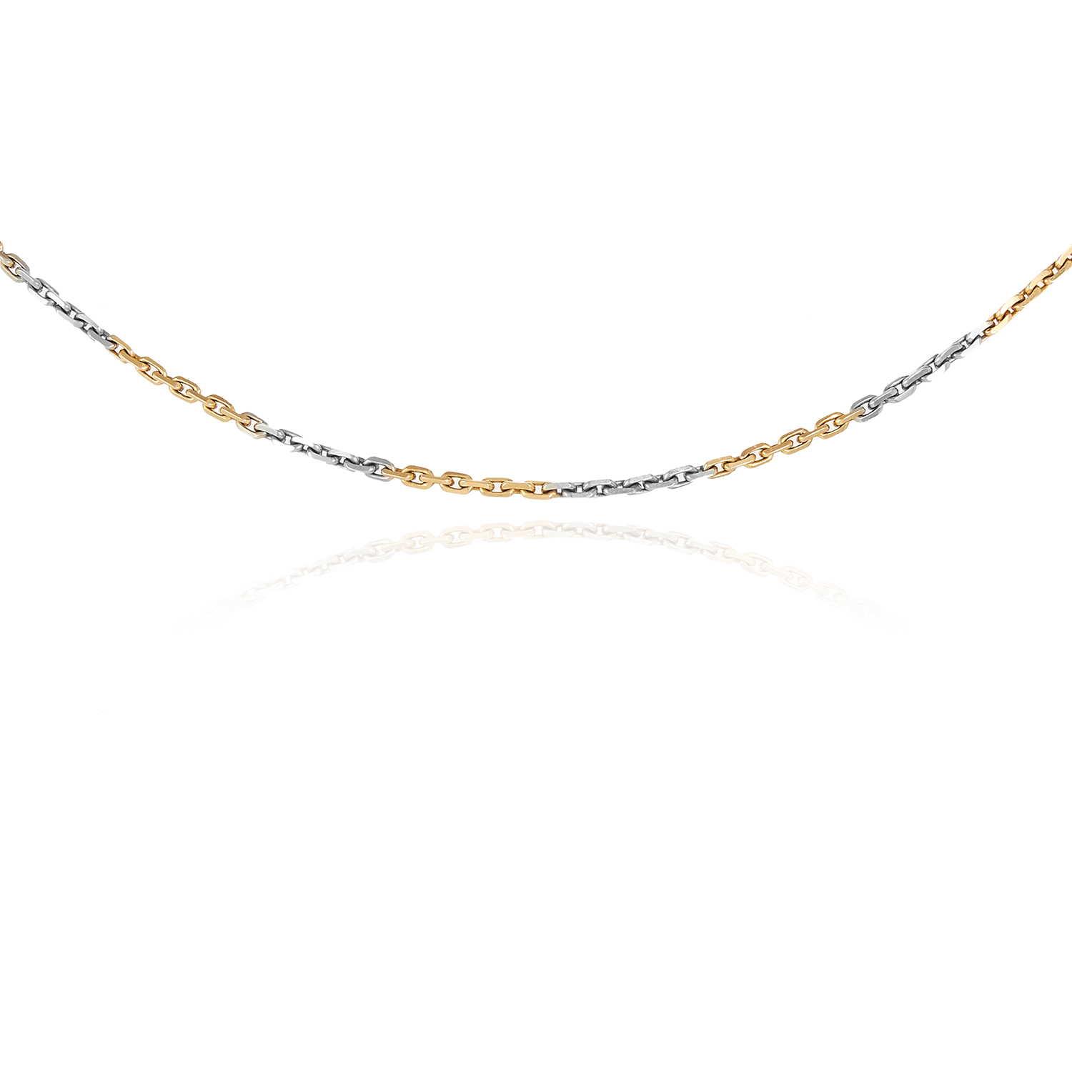 Los 71 - A GOLD WATCH CHAIN in 18ct yellow and white gold, stamped 18ct, 33.0cm, 9.3g.