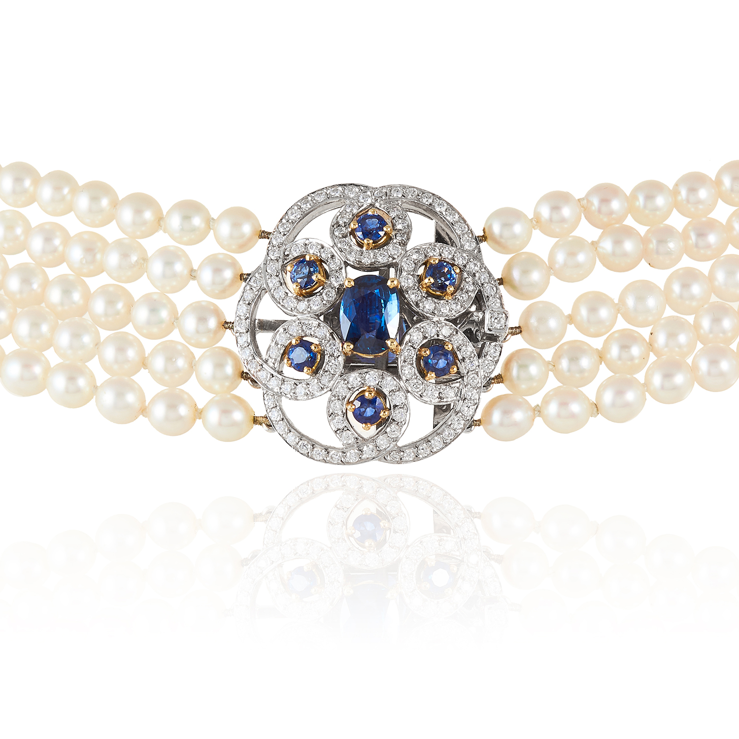 A PEARL, SAPPHIRE AND DIAMOND CHOKER NECKLACE, E WOLFE & CO in 18ct white gold, comprising five rows