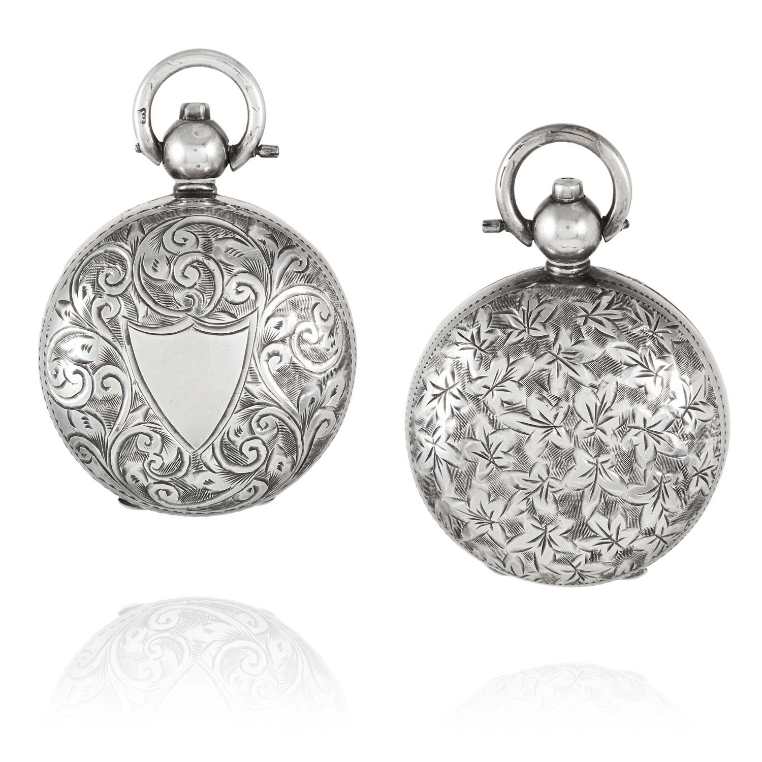 Los 14 - TWO ANTIQUE SILVER SOVEREIGN HOLDERS, EARLY 20TH CENTURY circular form, one with bright cut