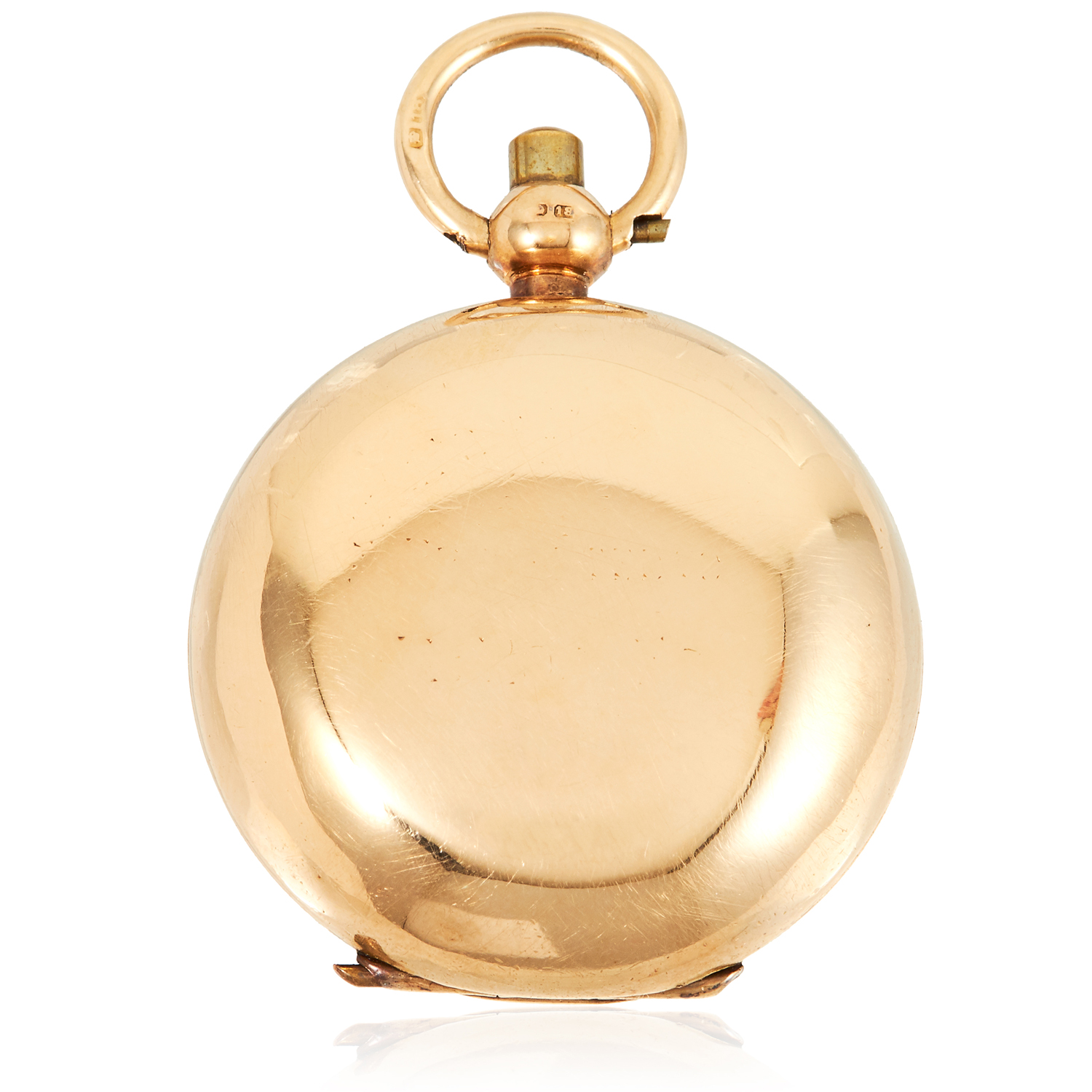 AN ANTIQUE 18 CARAT GOLD SOVEREIGN HOLDER, EARLY 20TH CENTURY circular form, hinged lid, full