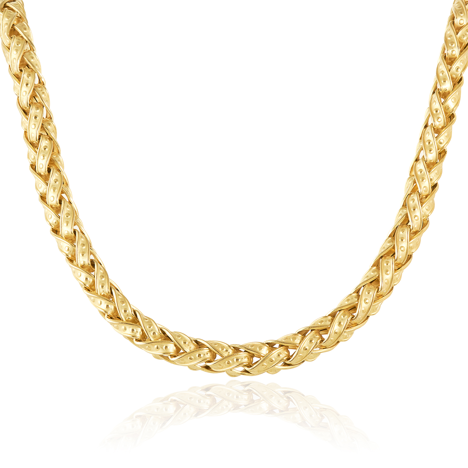 A FANCY LINK CHAIN NECKLACE, SIGNORETTI in 18ct yellow gold, formed of fancy interwoven links with