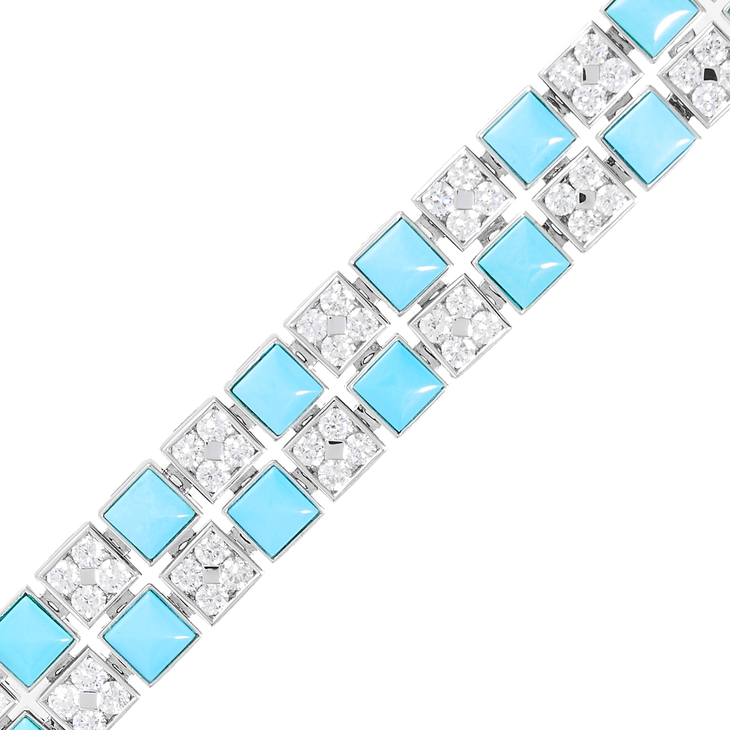 A TURQUOISE AND DIAMOND BRACELET, PICCHIOTTI in 18ct white gold, formed of a double row of - Image 2 of 2