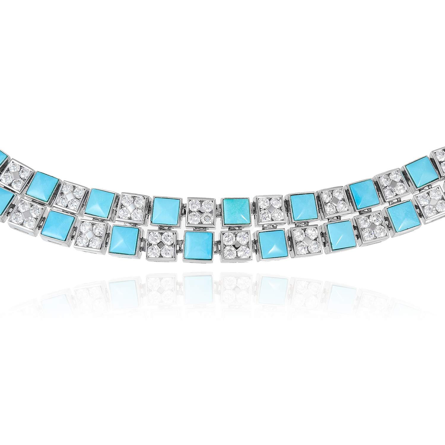 A TURQUOISE AND DIAMOND NECKLACE, PICCHIOTTI in 18ct white gold, formed as a double row of alternat