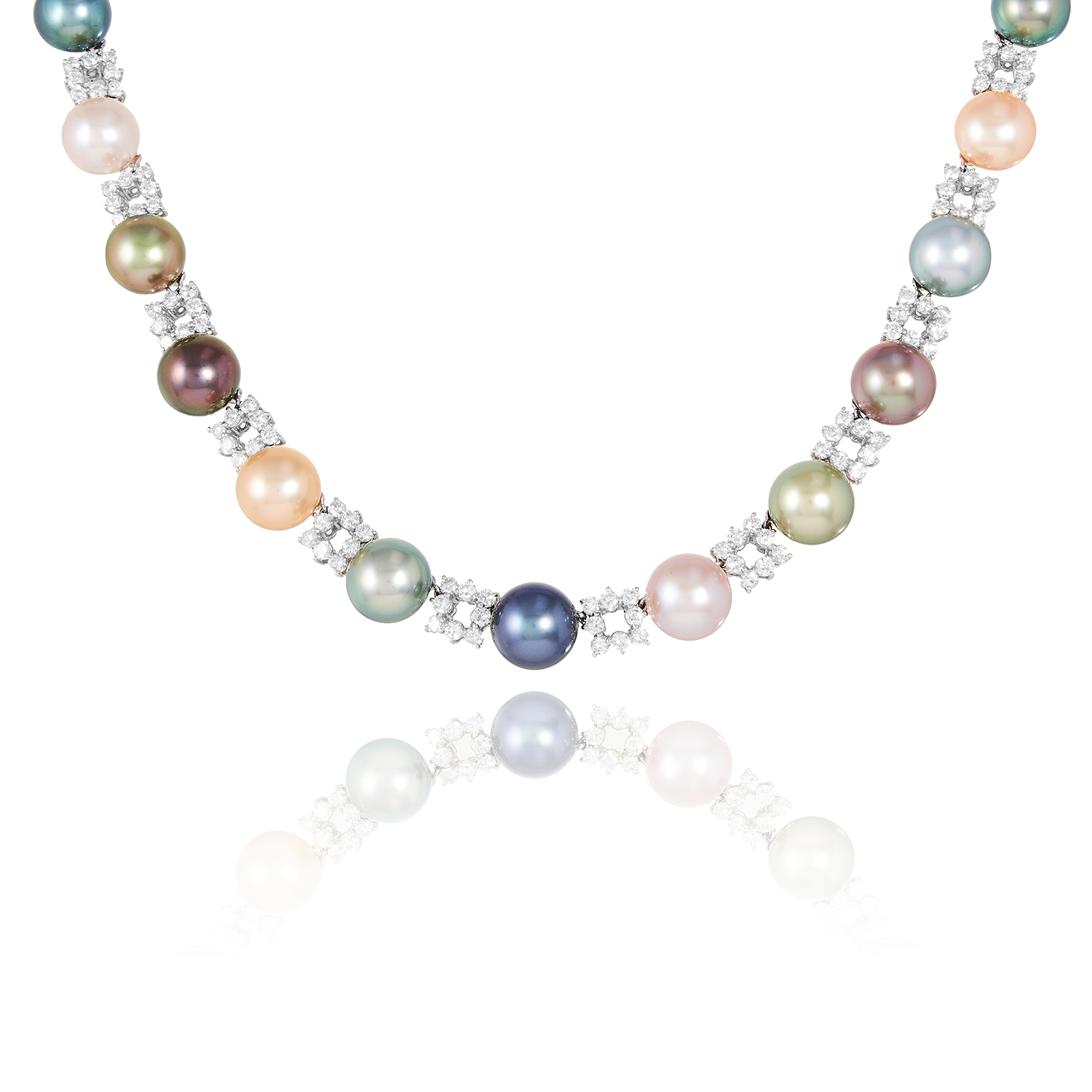 A PEARL AND DIAMOND NECKLACE, SCHOEFFEL in 18ct white gold, comprising a single row of alternating