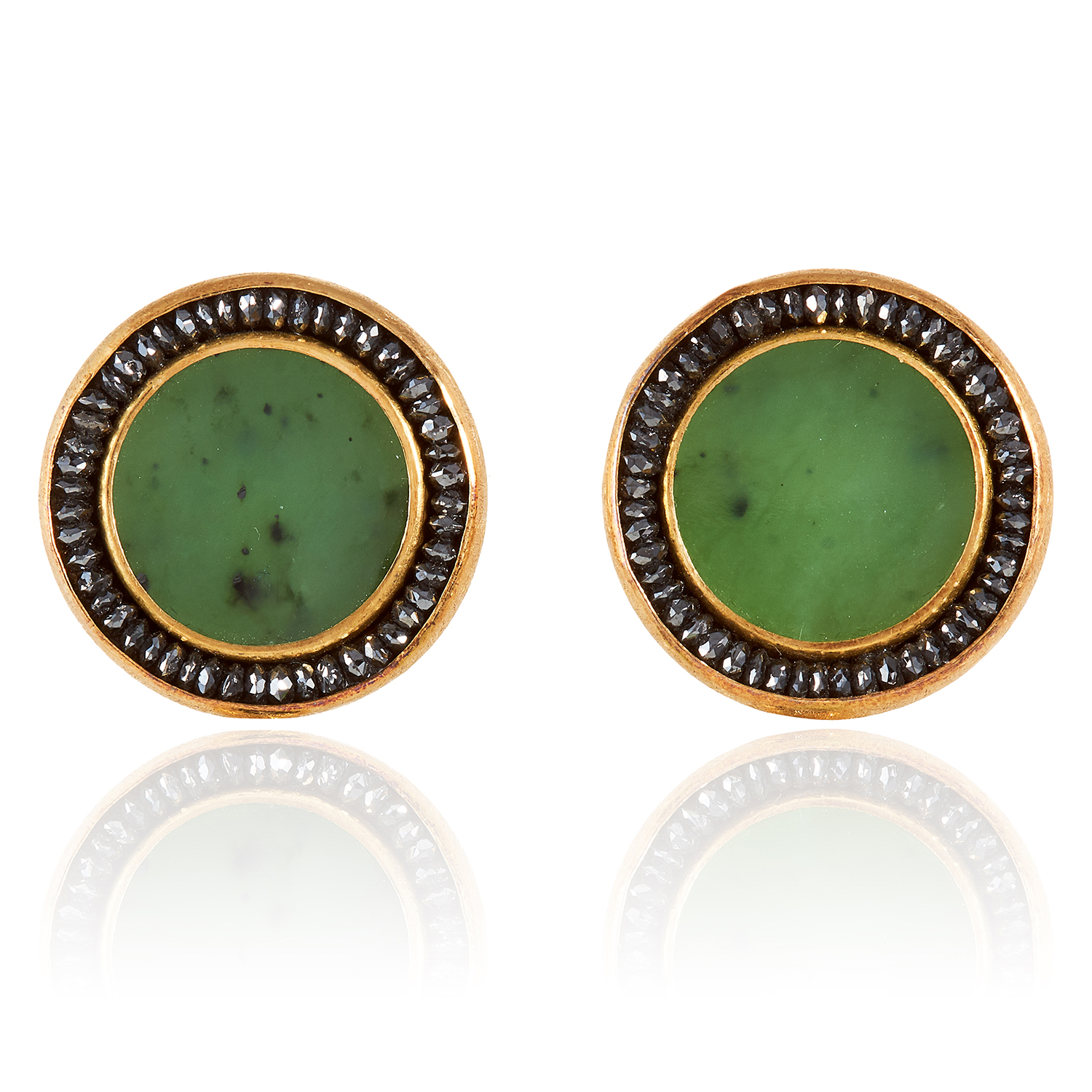 A PAIR OF NEPHRITE JADE AND BLACK DIAMOND DAY AND NIGHT EARRINGS, ZOBEL 2011 in 18ct yellow gold, - Image 2 of 2