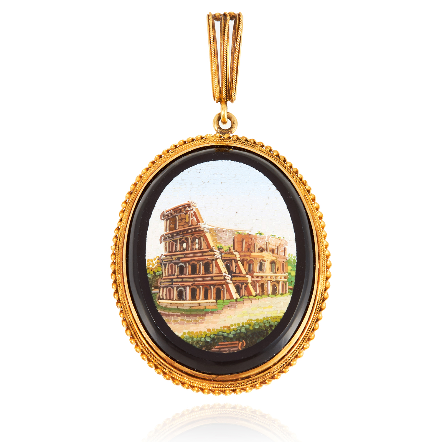 AN ANTIQUE MICROMOSAIC PENDANT, 19TH CENTURY in high carat yellow gold, the oval micromosaic set