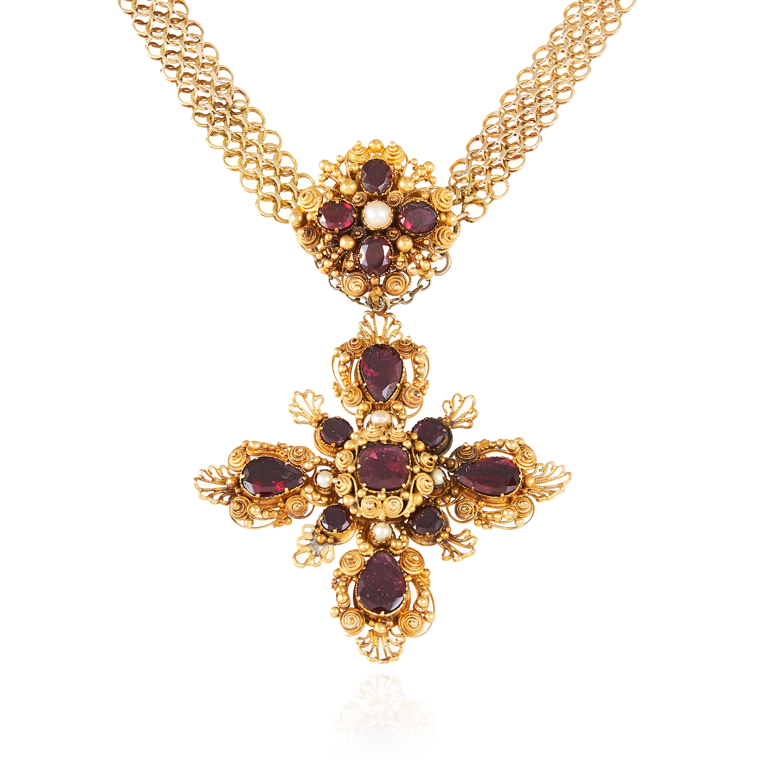 AN ANTIQUE ALMANDINE GARNET AND PEARL CROSS PENDANT NECKLACE, 19TH CENTURY in high carat yellow