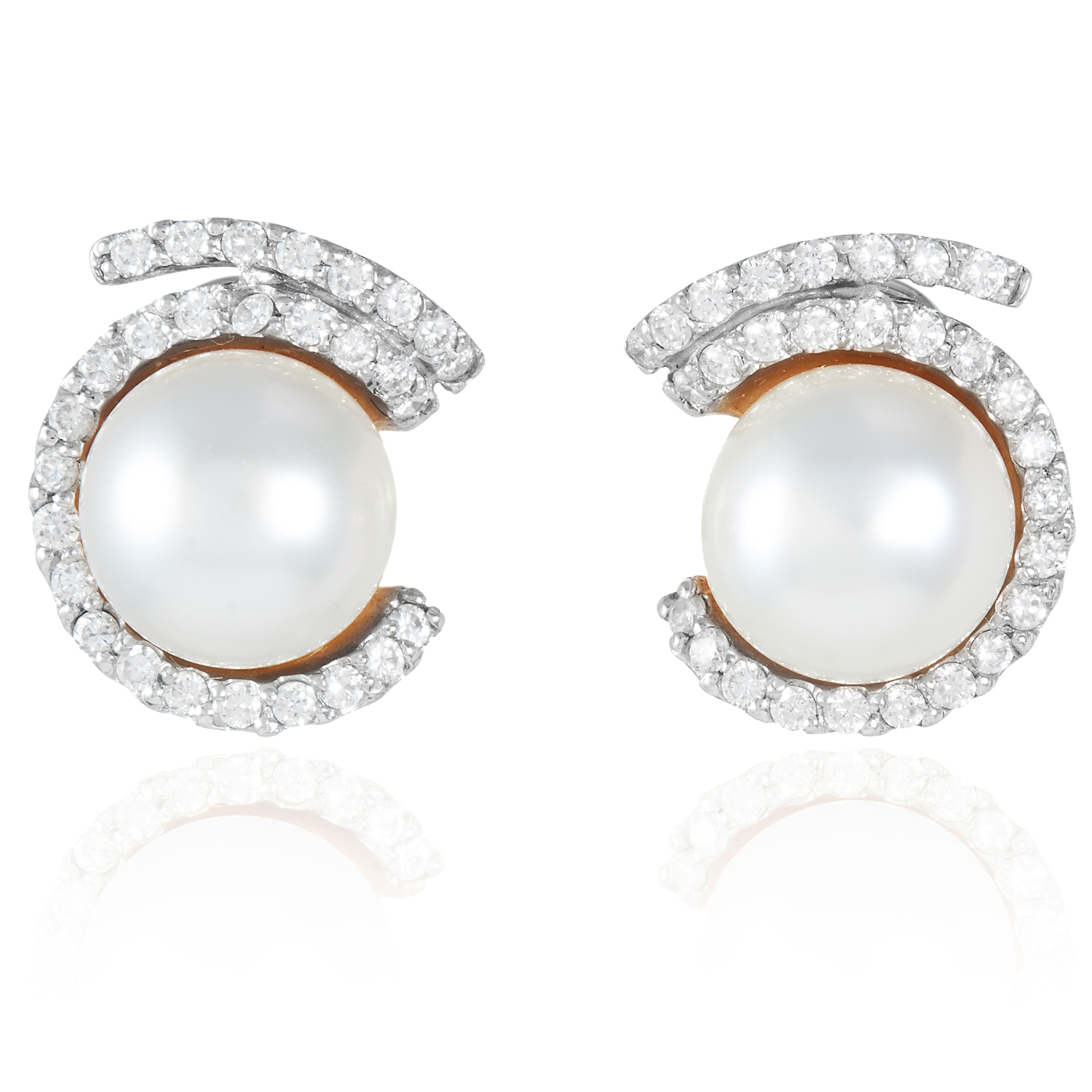 A PAIR OF PEARL AND DIAMOND EARRINGS in 18ct yellow gold, set with 11.3mm round pearls within