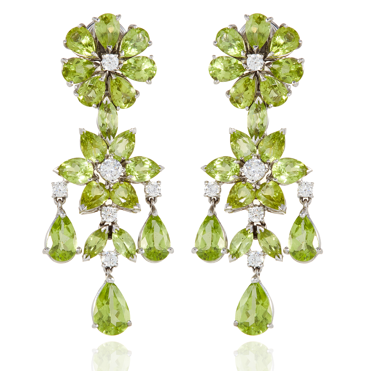 A PAIR OF PERIDOT AND DIAMOND EARRINGS in 18ct white gold, each of chandelier form, set with diamond