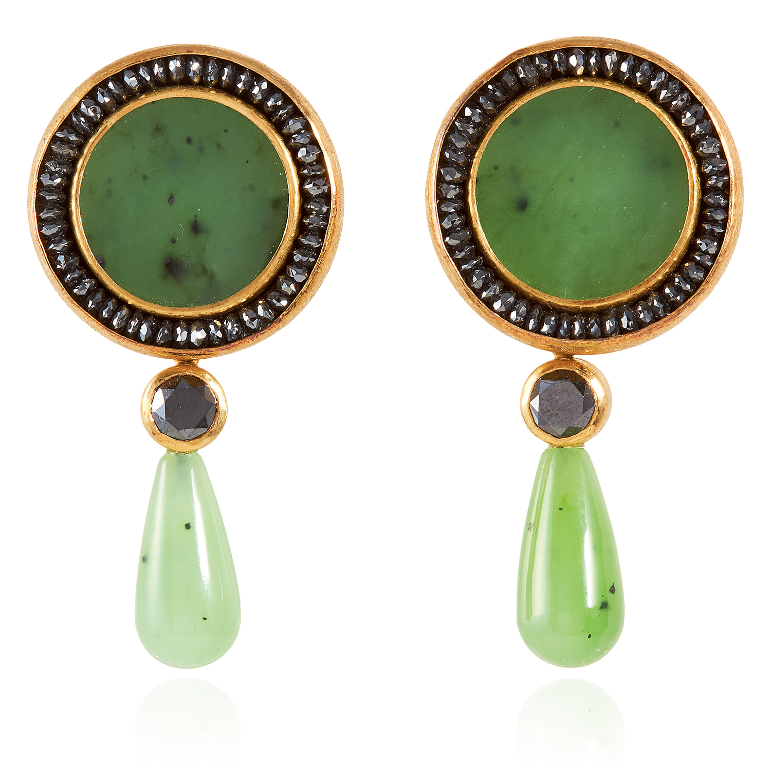 A PAIR OF NEPHRITE JADE AND BLACK DIAMOND DAY AND NIGHT EARRINGS, ZOBEL 2011 in 18ct yellow gold,