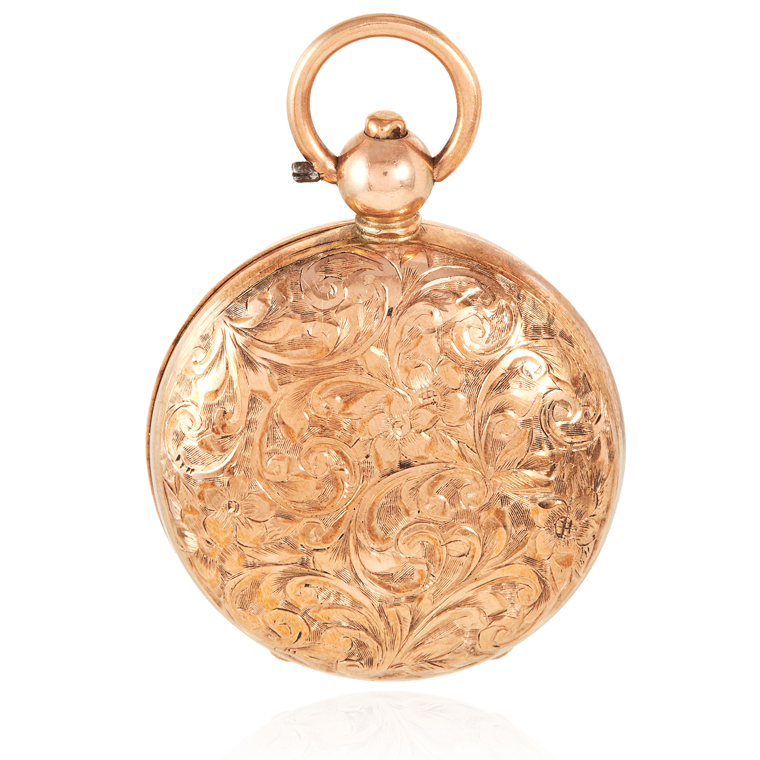 AN ANTIQUE 9 CARAT GOLD SOVEREIGN HOLDER, EARLY 20TH CENTURY circular form, hinged lid with engraved