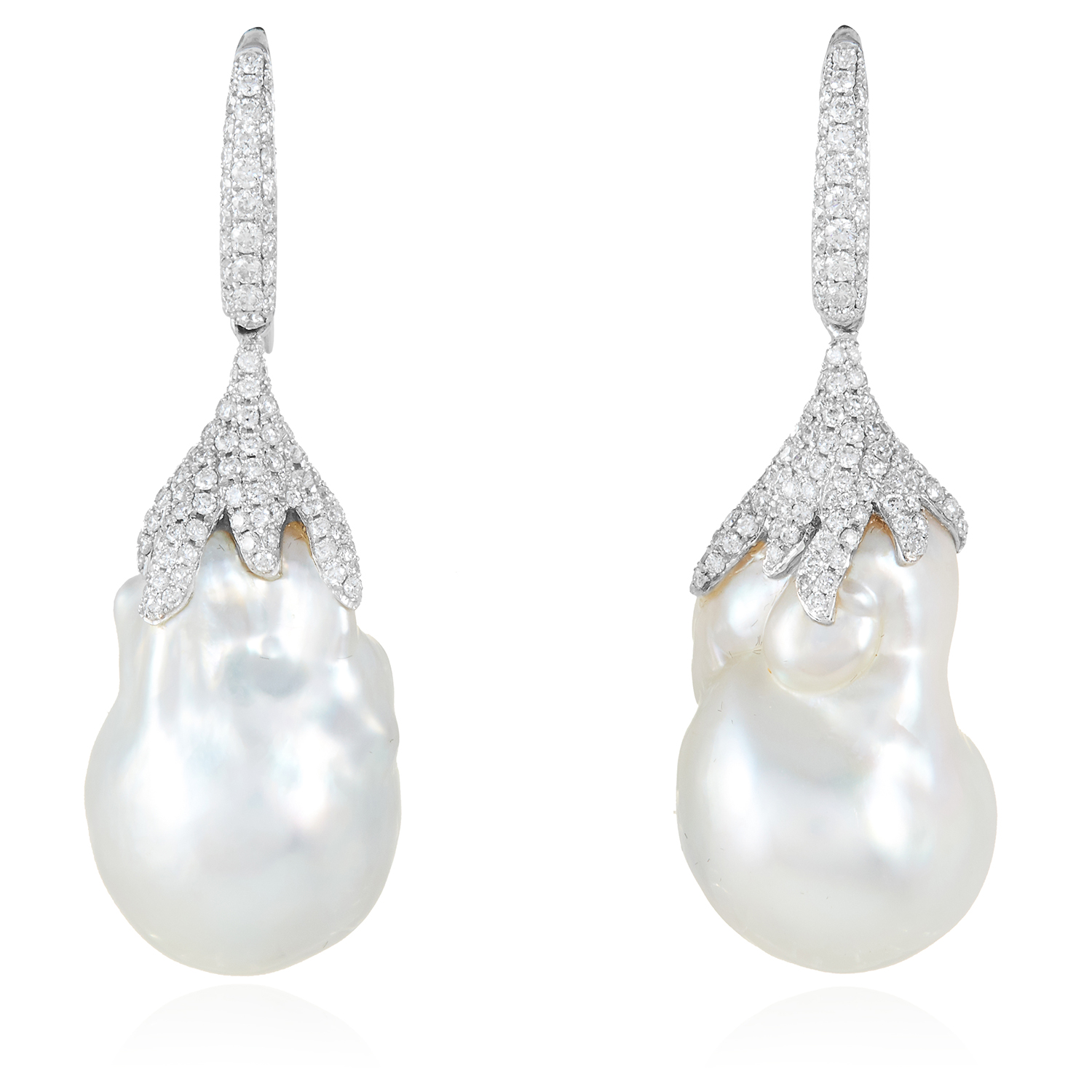 A PAIR OF BAROQUE PEARL AND DIAMOND EARRINGS in 18ct white gold, each set with a large baroque pearl