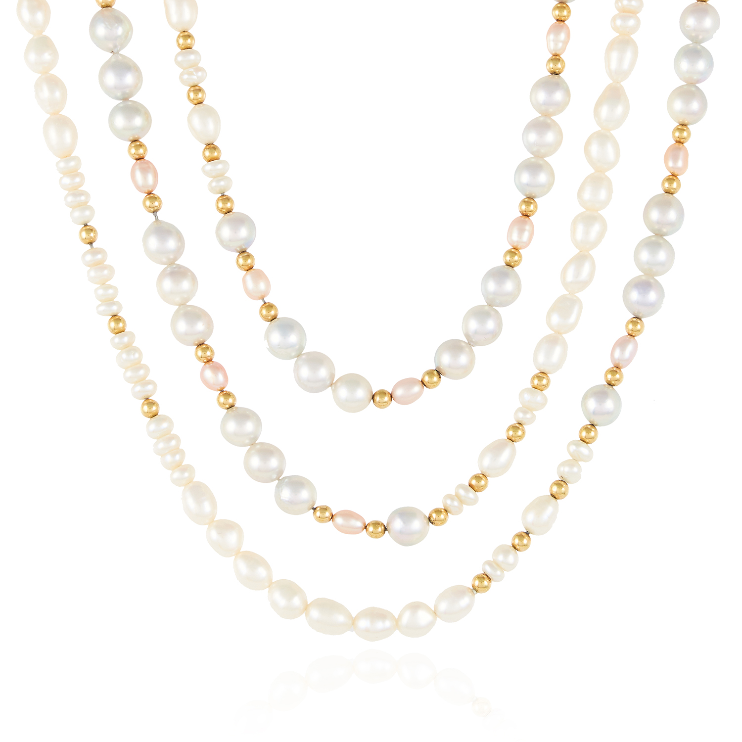 A PEARL AND GOLD BEAD SAUTOIR NECKLACE in high carat yellow gold, designed as a very long row of