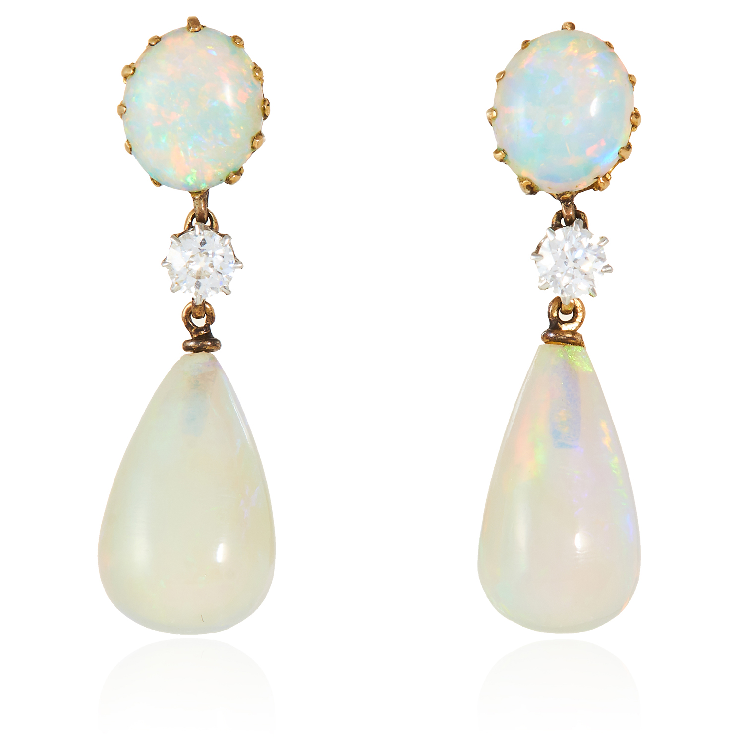 A PAIR OF OPAL AND DIAMOND DROP EARRINGS in high carat yellow gold each designed as a polished