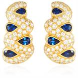 A PAIR OF SAPPHIRE AND DIAMOND EARRINGS in 18ct yellow gold, the tapering bodies jewelled with