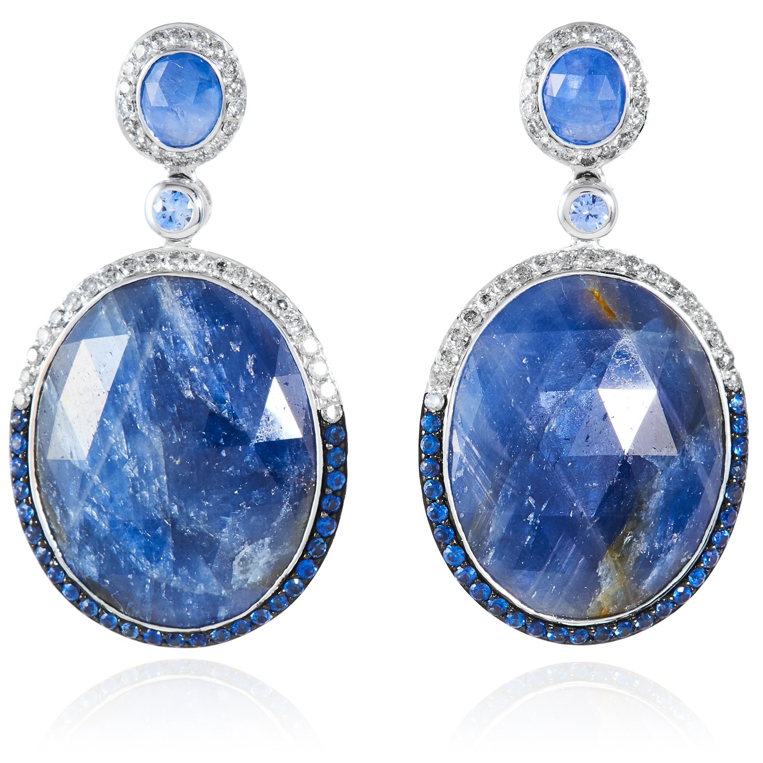 A PAIR OF SAPPHIRE AND DIAMOND EARRINGS in 18ct white gold, each set with a large oval rose cut