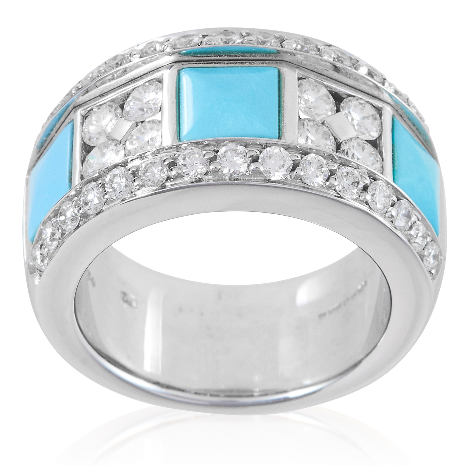 A TURQUOISE AND DIAMOND RING, PICCHIOTTI in 18ct white gold, set with alternating square turquoise
