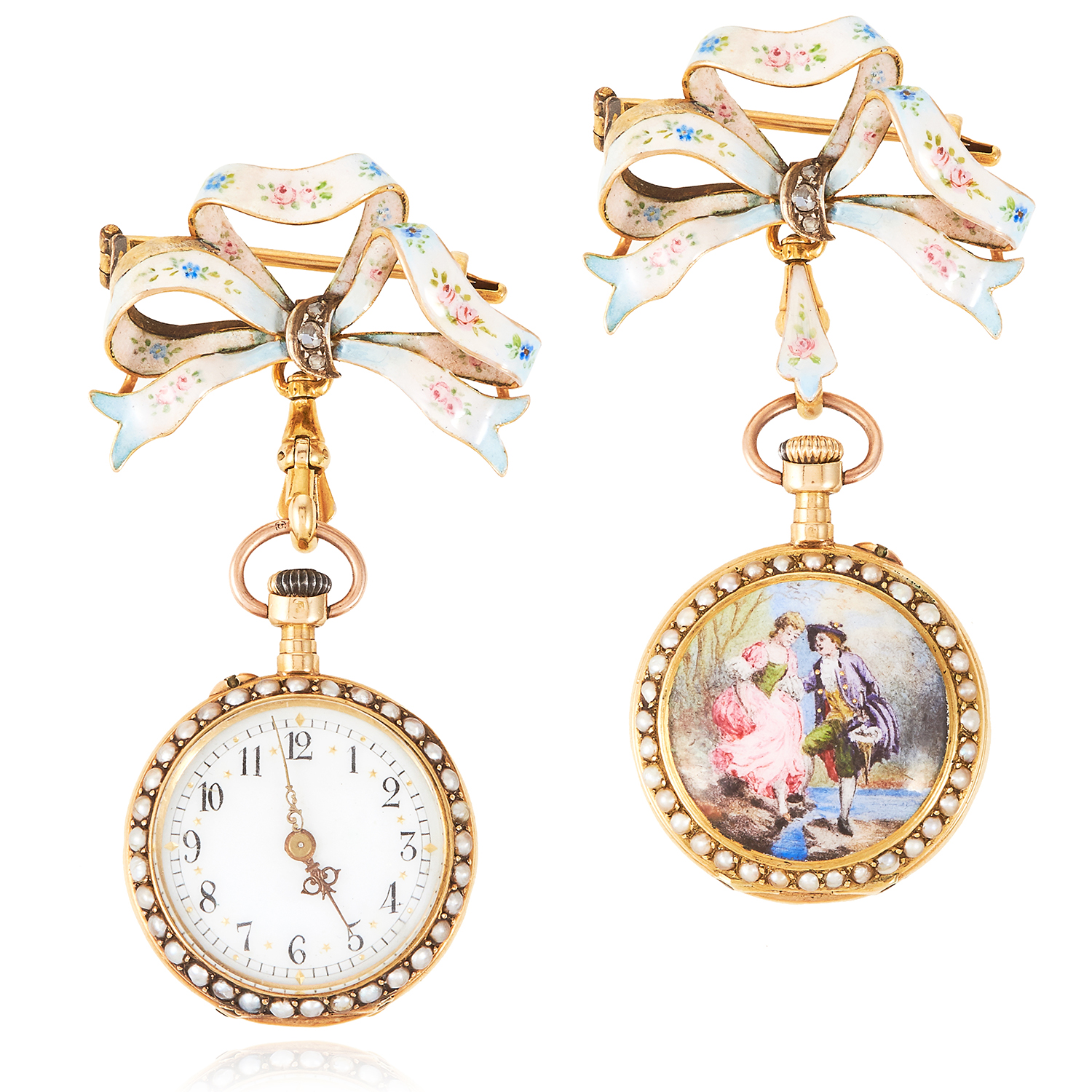 AN ANTIQUE PEARL, DIAMOND AND ENAMEL FOB WATCH, 19TH CENTURY in high carat yellow gold the